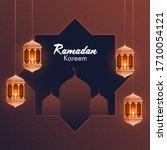 illuminated  lanterns and... | Shutterstock .eps vector #1710054121