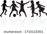 silhouette of children on white ... | Shutterstock .eps vector #1710123301