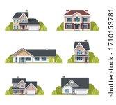 houses set. suburban houses... | Shutterstock .eps vector #1710153781
