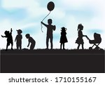 children black silhouettes in... | Shutterstock .eps vector #1710155167