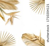 golden palm leaves with golden... | Shutterstock . vector #1710204121