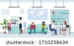 people in medical mask in bank... | Shutterstock .eps vector #1710258634