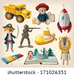 set of old fashioned toys | Shutterstock .eps vector #171026351