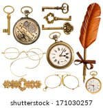 Set Of Golden Antique Objects....