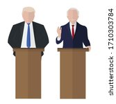 old businessman speaks to people from tribune. Flat tribune Icon web. Business debates. Vector illustration