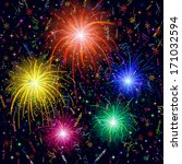 firework  bright color flashes  ... | Shutterstock .eps vector #171032594