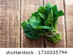 Clean Food Concept. Leaves Of...