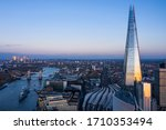 Small photo of London City, 20 April 2020: Aerial view of the City of London Shard