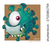 a corona virus cartoon vector... | Shutterstock .eps vector #1710381754