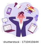 panic businesswoman. vector... | Shutterstock .eps vector #1710410644