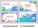 set of vector abstract summer... | Shutterstock .eps vector #1710436687
