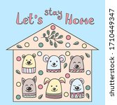 stay at home. funny hand drawn... | Shutterstock .eps vector #1710449347