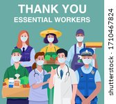 thank you essential workers... | Shutterstock .eps vector #1710467824