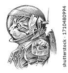 cat dressed up in astronaut.... | Shutterstock .eps vector #1710480994