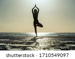 Silhouette Of Woman Standing At ...