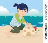vector illustration of a little ... | Shutterstock .eps vector #1710592924