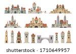 castle towers big set. kingdom... | Shutterstock .eps vector #1710649957