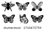 Butterflies Carve Set  Vector...