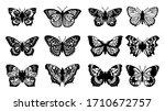 butterflies carve set  vector... | Shutterstock .eps vector #1710672757
