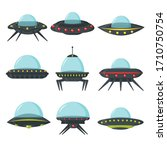 ufo set  alien spaceships  flat ...
