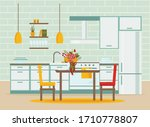 kitchen interior with furniture ... | Shutterstock .eps vector #1710778807