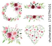 watercolor floral set with... | Shutterstock . vector #1710794101