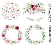 watercolor floral set with... | Shutterstock . vector #1710794104