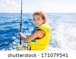 Blond  Kid Girl Fishing...
