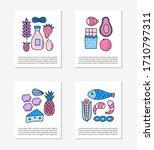 cards with doodle colored food... | Shutterstock .eps vector #1710797311
