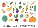 fruits and vegetables isolated... | Shutterstock .eps vector #1710820984