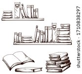 Sketch Of Books On Wall Shelves....