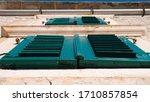 Old Wooden Blue Green Window Of ...