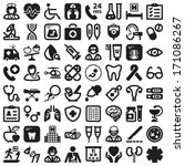 set of black flat icons about... | Shutterstock .eps vector #171086267