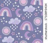 lavender nursery pattern....   Shutterstock .eps vector #1710893434