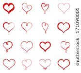 vector set of simple hearts | Shutterstock .eps vector #171090005