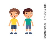 angry little boys flat vector... | Shutterstock .eps vector #1710912181