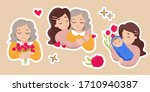 stickers set for mother's day.... | Shutterstock .eps vector #1710940387