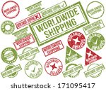 collection of 22 red and green... | Shutterstock .eps vector #171095417