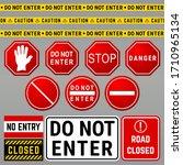 do not enter danger warning... | Shutterstock .eps vector #1710965134
