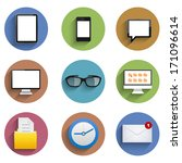 vector flat technology icon set ...