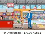 supermarket store interior with ... | Shutterstock .eps vector #1710971581