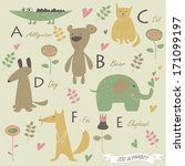 zoo alphabet with a  b  c  d  f ... | Shutterstock .eps vector #171099197