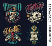 vintage tattoo studio colorful...   Shutterstock . vector #1710993631