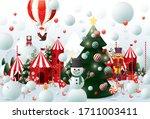 winter wonderland christmas... | Shutterstock .eps vector #1711003411