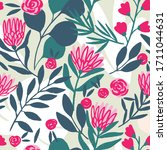 protea and eucalyptus leaves... | Shutterstock .eps vector #1711044631