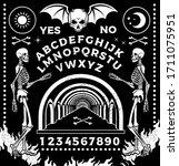 ouija board with skeletons.... | Shutterstock .eps vector #1711075951