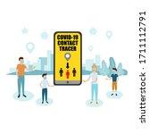 people holding smartphones with ... | Shutterstock .eps vector #1711112791