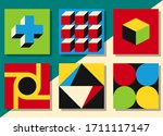 geometric shapes in squares.... | Shutterstock .eps vector #1711117147