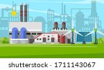 industrial factory in a flat... | Shutterstock .eps vector #1711143067