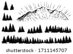 vector mountain with forest... | Shutterstock .eps vector #1711145707